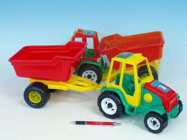 Teddies Traktor s vlekem plast 52cm