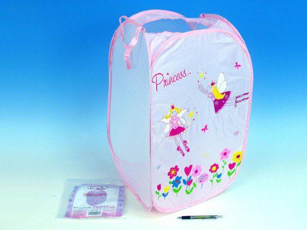 Teddies Koš na hračky Princess růžový 36x36x58cm polyester