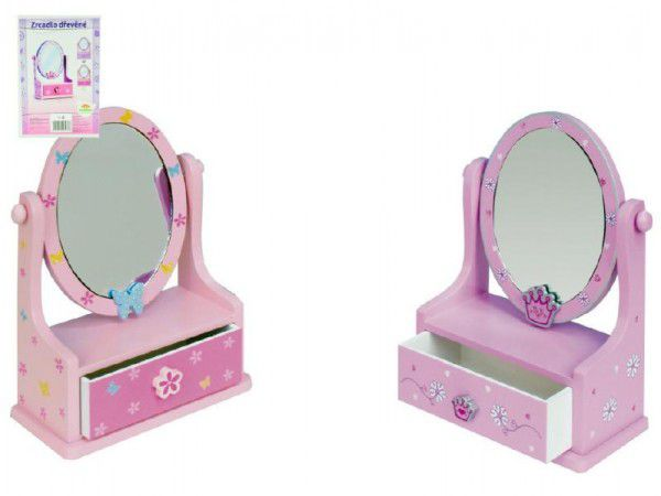 Zrcadlo ovál se zásuvkou dřevo 16,2x24,2x8,5cm 3 barvy v krabici