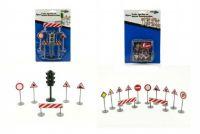 Dopravní značky plast asst 2 druhy na kartě 16x25cm