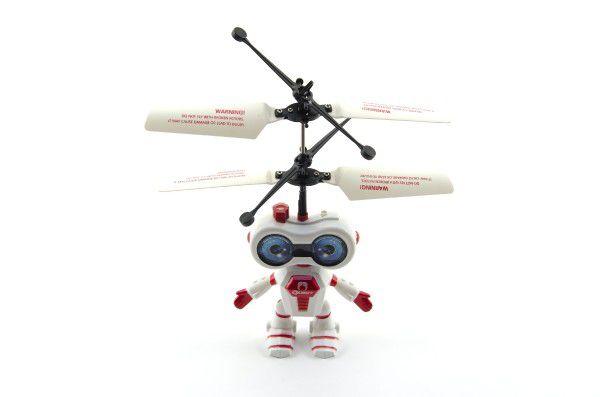 Vrtulník robot 15cm reagující na pohyb ruky USB nabíjecím kabelem se světlem 2barvy v krabičce