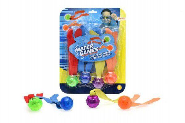 Teddies 49078 Zábavné míčky pro potápění 4ks plast se světlem na baterie na kartě 22x28x4cm