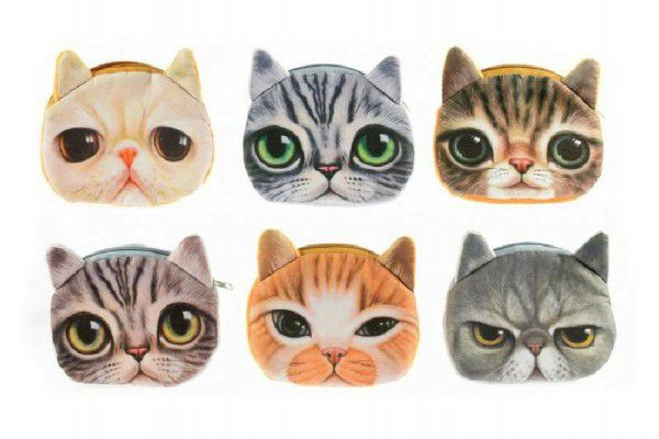 Peněženka kočka na zip textil 13cm asst 6 druhů