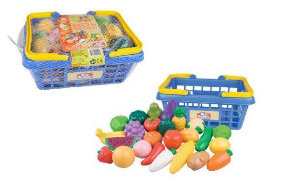 Teddies Nákupní košík ovoce/zelenina 25ks plast 28x13x22cm v síťce