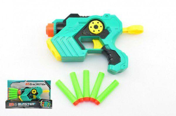 Teddies Pistole na pěnové náboje 5ks plast 21cm v krabici
