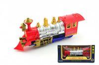 Lokomotiva/Vlak plast 28cm narážecí na baterie se světlem se zvukem v krabici