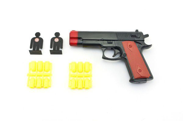 Pistole špuntovka plast 16cm na plastové náboje s terčem na kartě