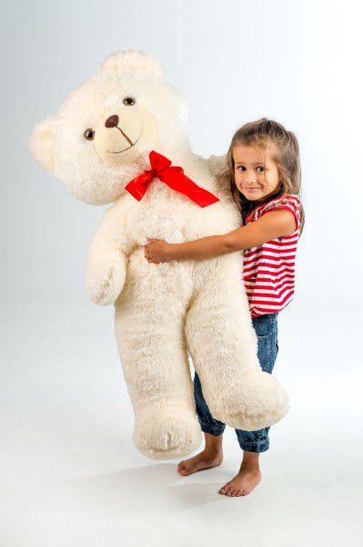 Medvěd plyš 100cm s mašlí béžový 0+