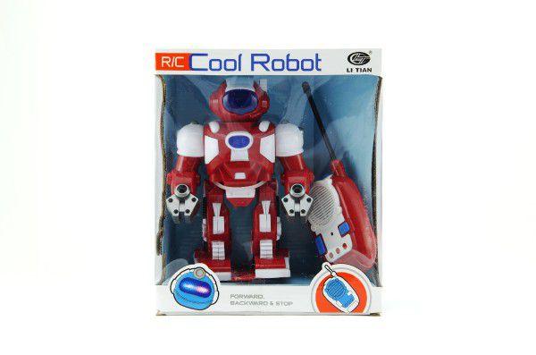 Robot RC plast 20cm na vysílačku na baterie se zvukem se světlem v krabici