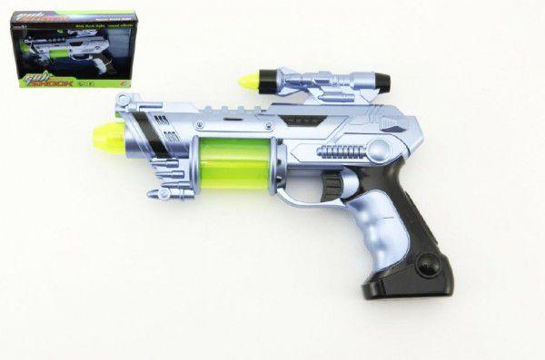 Pistole laserová plast 26cm na baterie se zvukem se světlem v krabici