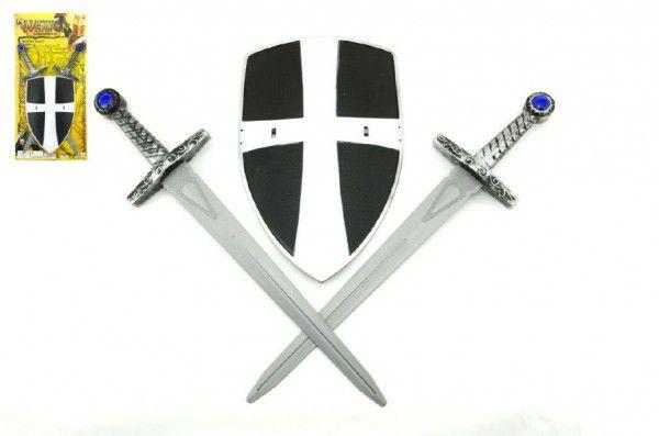Teddies Rytířská sada 2 meče a štít plast 49cm