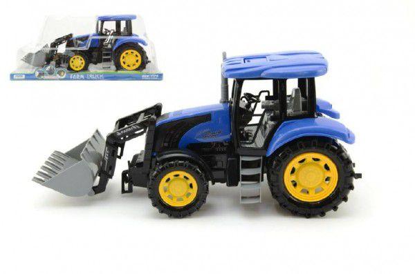 Modrý traktor s radlicí plast 42cm na setrvačník v krabičce