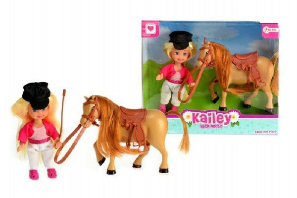Teddies Panenka 12cm s koněm 12cm