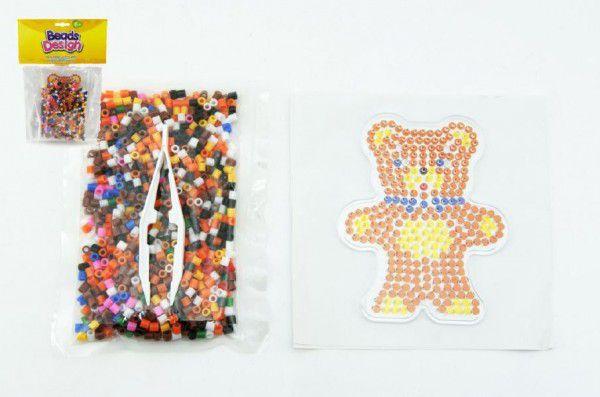 Zažehlovací korálky medvídek plast 900ks v sáčku 18x26x2cm