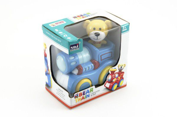Vlak s medvídkem plast 13cm narážecí na baterie se světlem v krabici