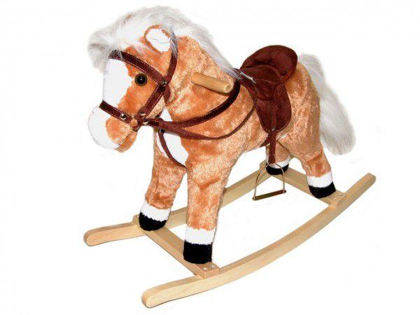 Kůň houpací plyš 60cm na baterie se zvukem nosnost 50kg v krabici