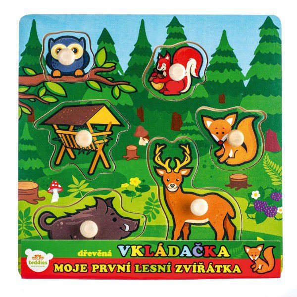 Vkládačka dřevěná Moje první zvířátka lesní 6 ks 22,5x22,5x2,5 cm 12m+ MPZ