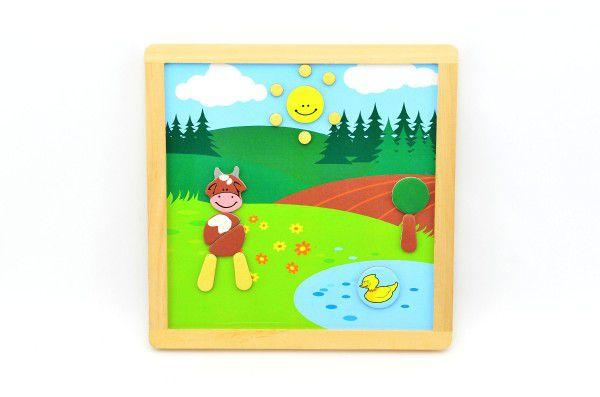 Magnetické puzzle dřevěné Moje první zvířátka 57 dílků oboustranná tabulka 25x25 cm v krabici MPZ