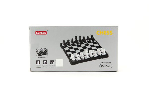 Cestovní magnetické šachy + dáma společenská hra v krabičce 24x12x4cm