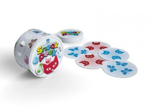 Teddies SNEAK PEEK 49302 společenská hra v plechové krabičce 9x9cm