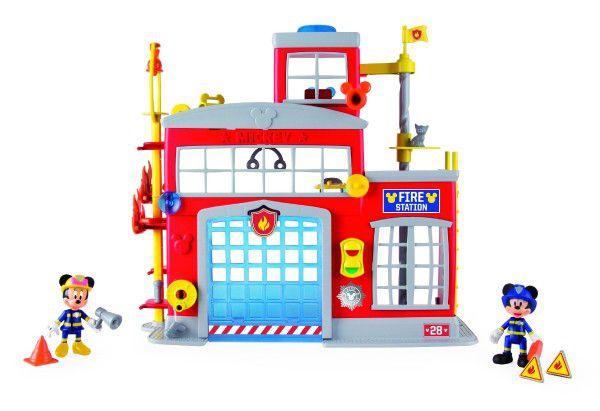 Mickey Mouse Clubhouse hasičská stanice + 2 figurky plast na baterie se světlem a zvukem v krabici