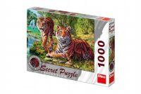 Puzzle Tygři 12 skrytých detailů 1000 dílků 66x47cm v krabici 37x27x5cm