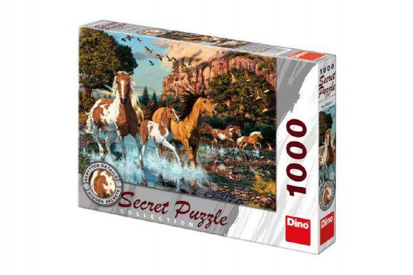 Puzzle Koně 15 skrytých detailů 1000 dílků  66x47cm v krabici 37x27x5cm