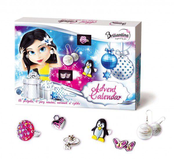 Adventní kalendář Briliantina - 18 prstýnků, 4 páry náušnic, náramek a ozdoba v krabici 35x24x3cm