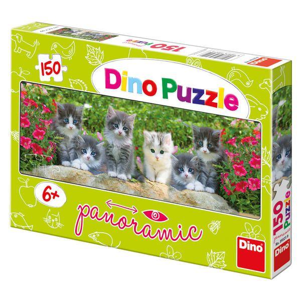 Puzzle Koťátka v zahradě panoramic 66x23cm 150 dílků v krabici 33x23x3,5cm