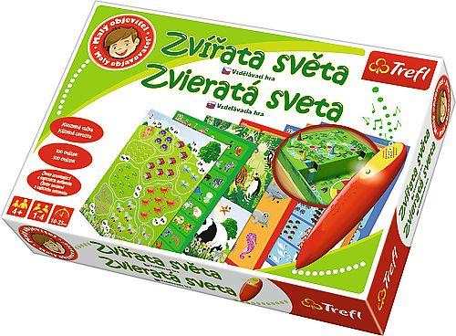 Malý objevitel Zvířata světa + kouzelná tužka edukační společenská hra v krabici 33x23x6cm