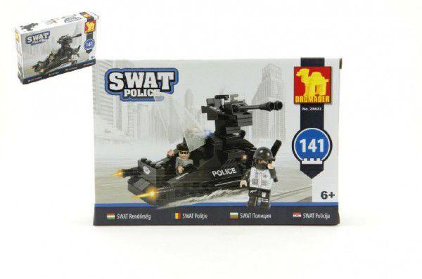 Stavebnice Dromader SWAT Policie Člun 141ks plast v krabici 22x15x5cm