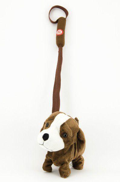 Pes na tyčce plyš 16cm chodící na baterie se zvukem