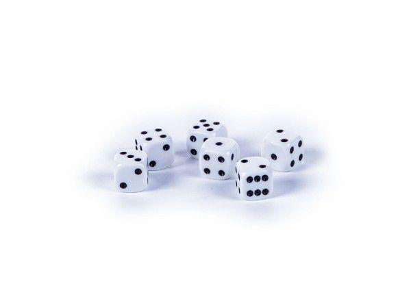 Hrací kostky 1,5x1,5cm společenská hra 6ks v krabičce 9x5x2cm