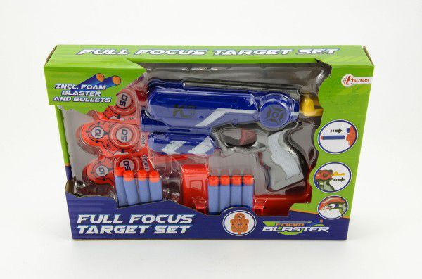 Pistole na pěnové náboje+terč 3ks plast 19cm asst 3 barvy v krabici