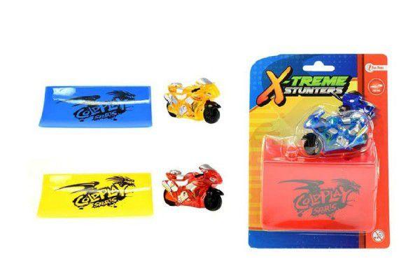 Motorka sportovní 6cm s rampou plast na setrvačník asst 3 druhy na kartě