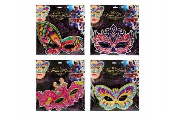 Maska pěnová 3D asst 4 druhy na kartě 26x27cm