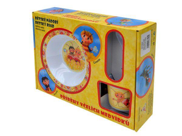 Sada nádobí Včelí medvídci 4ks melamin v krabici 32x23x9cm