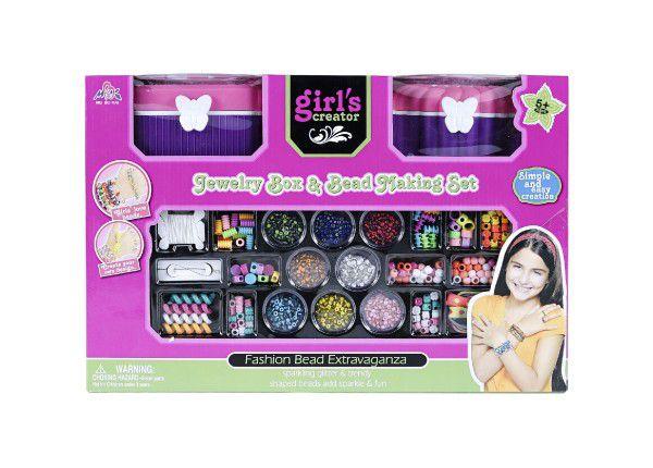 Kreativní sada/Korálky vytvoř si svůj náramek + šperkovnice 2ks plast v krabici 45x30x16cm