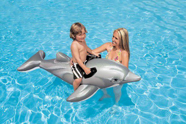Delfín nafukovací s úchyty 175x66cm v krabici