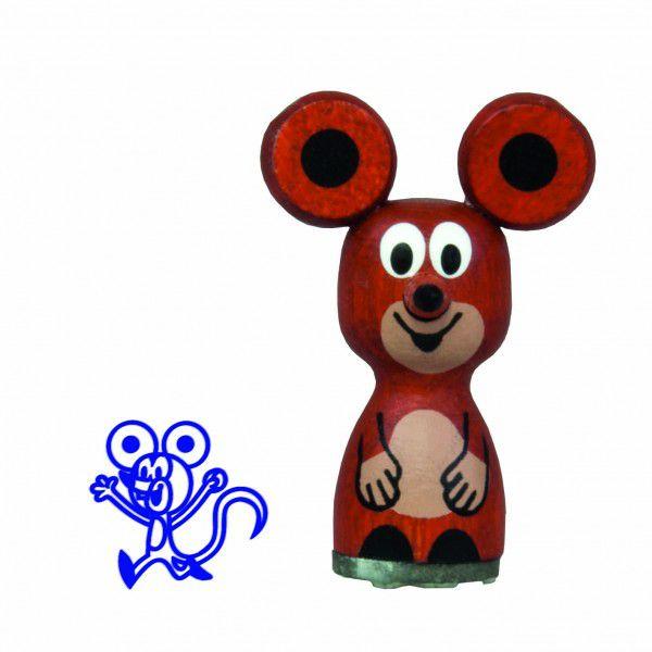 Razítko myška dřevo 4cm v sáčku Krtek