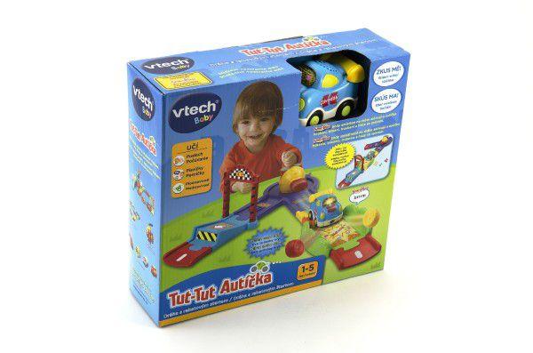 Tut Tut Dráha s raketovým startem+autíčko 8cm plast na baterie se zvukem se světlem v krabici Vtech