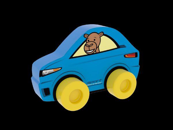 Moje první auto Sporťák velbloud modré pěna 10cm na kartě 0+