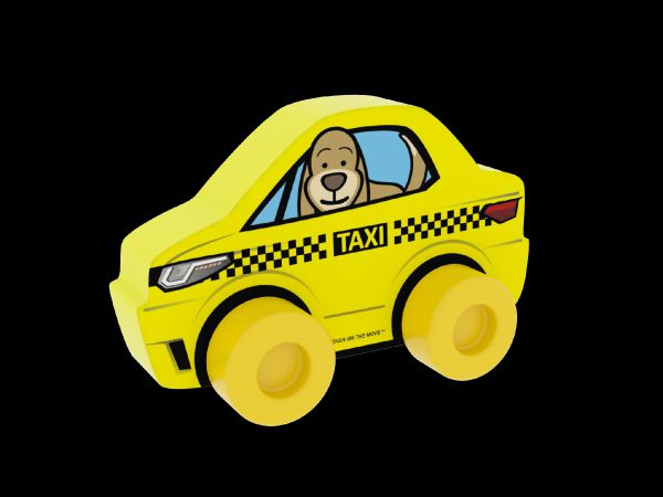 Moje první auto Taxi pes žluté pěna 10x7cm v sáčku 0+