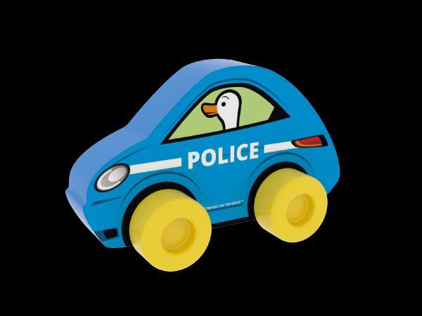 Moje první auto Policie husa modré pěna 10x7cm v sáčku 0+