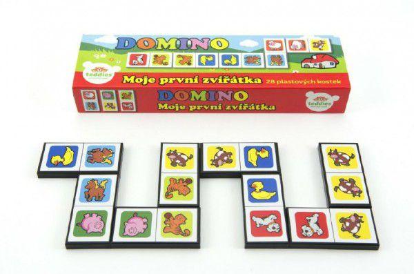 Moje první zvířátka Domino 28ks společenská hra v krabičce 21x6x3cm