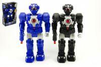 Super robot plast 38x19x10cm na baterie se zvukem se světlem asst 2 barvy v krabici