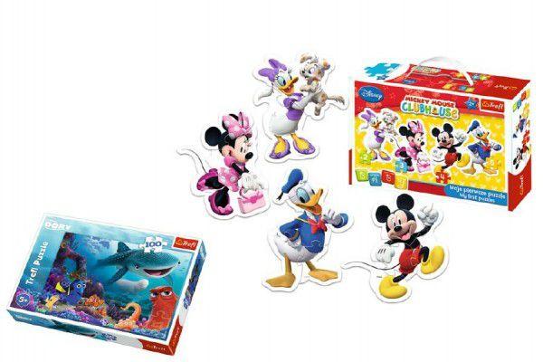 PACK Baby Puzzle Mickey Mouse + Puzzle 100 dílků v krabici 29x19x10cm