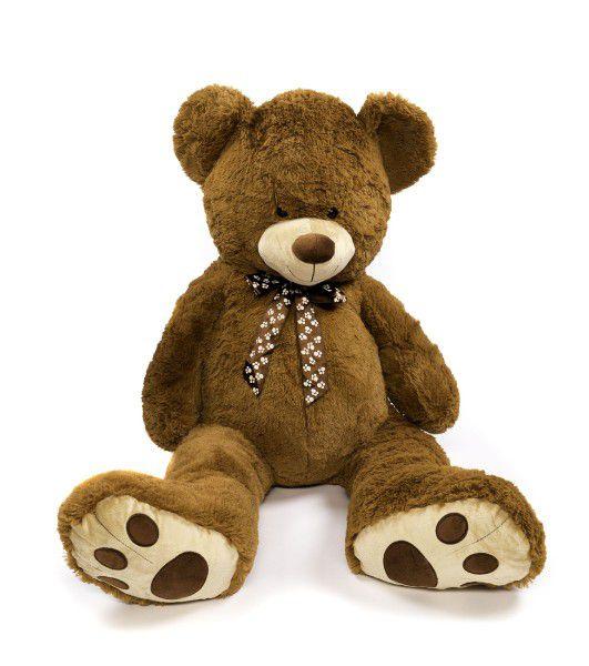 Medvěd s mašlí plyš 130cm tmavě hnědý v sáčku 0+