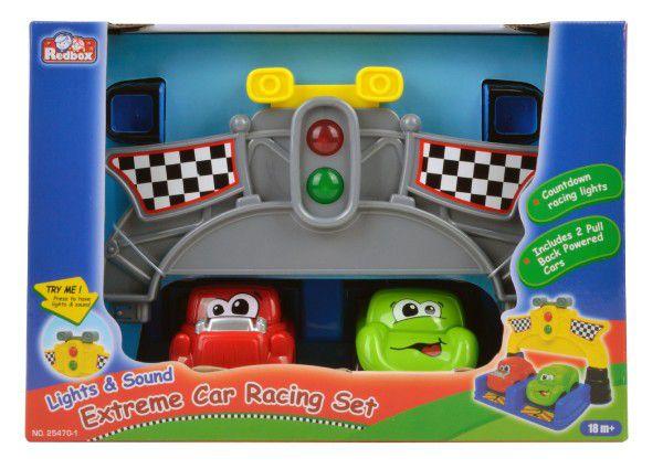 Závodní sada autíčka 2ks 9cm plast na baterie se zvukem se světlem v krabici