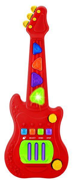 Elektronická kytara plast 48cm na baterie se zvukem se světlem v krabici